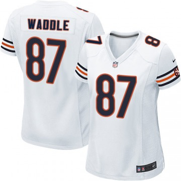Women's Tom Waddle Chicago Bears Game White Jersey